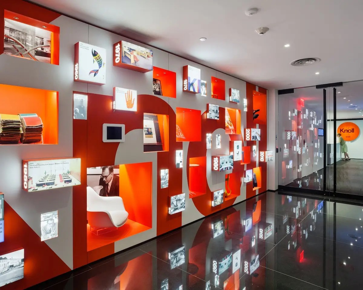 The layout for Knoll's New York City flagship showroom, offices, and shop incorporates details that celebrate the design firm's creative work. A 55-foot wall that displays 2,400 material samples is just one highlight. (Architecture Research Office)