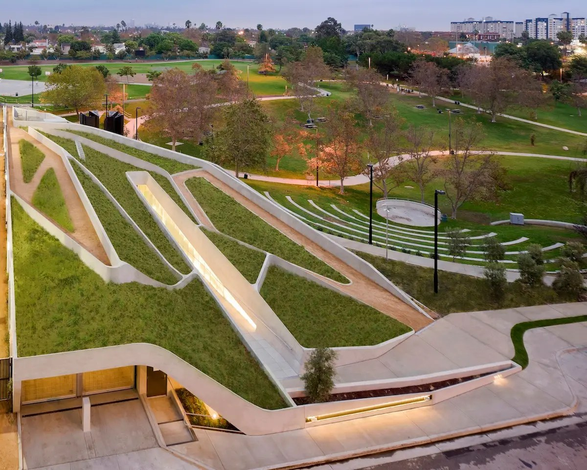 The Los Angeles Museum of the Holocaust is cut into the hillside of its surrounding park. Museum patrons must descend into the hill to enter. (Belzberg Architects)