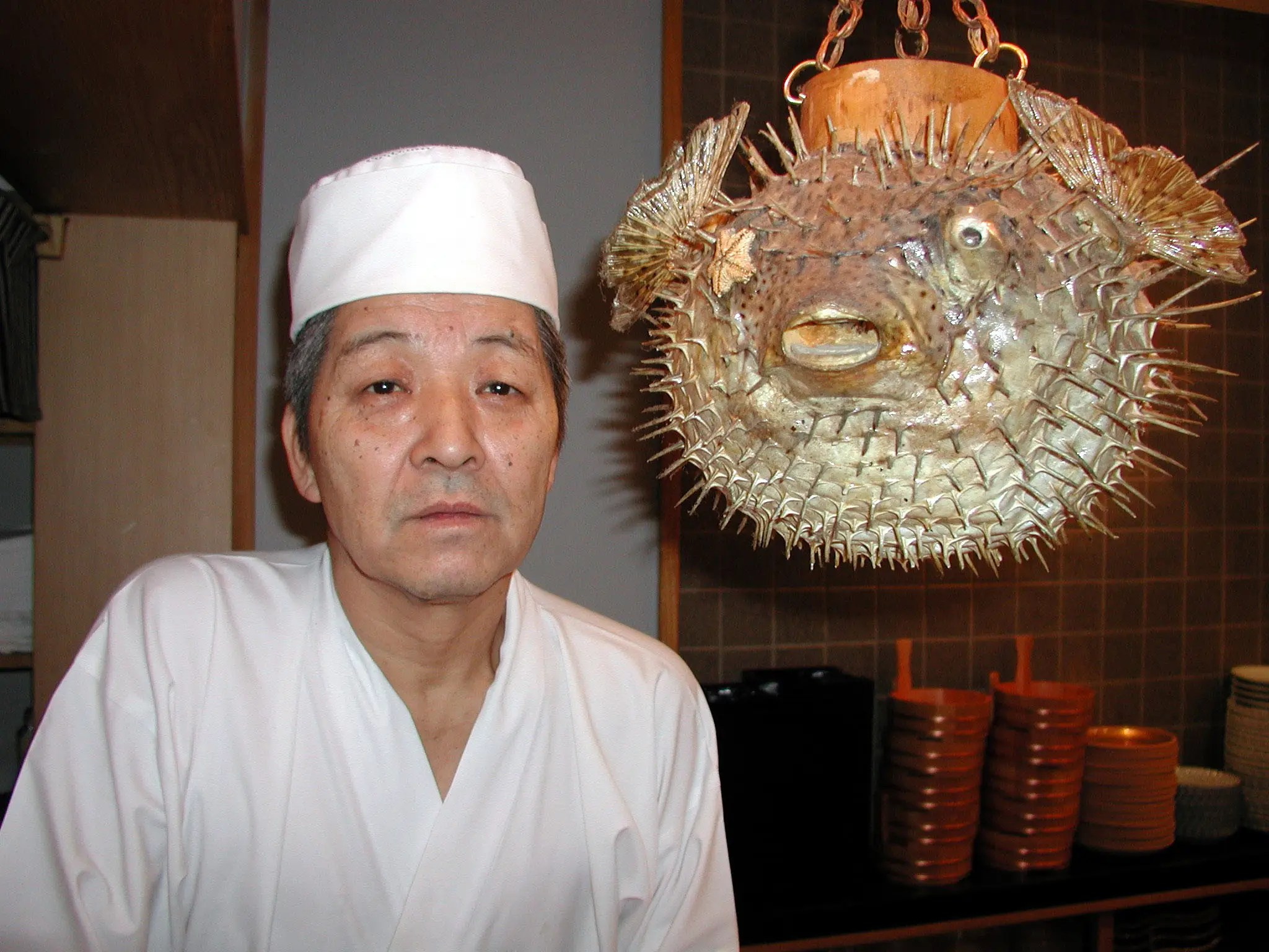 Test your fate and try pufferfish (also known as fugu) at a restaurant in Tokyo, Japan.