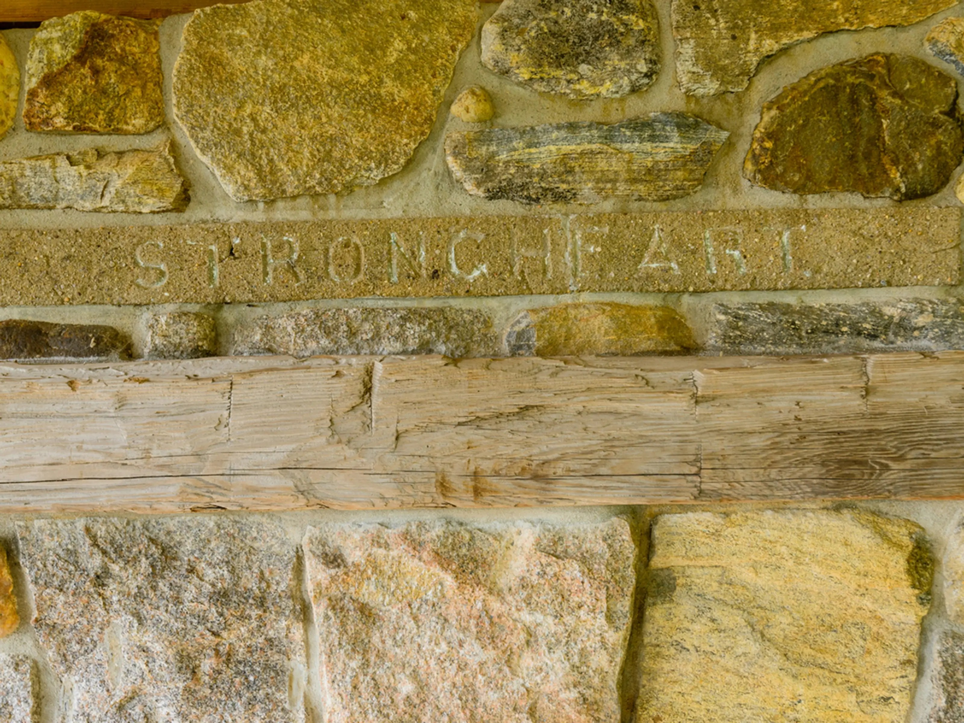Where the property's name is engraved in the stone.