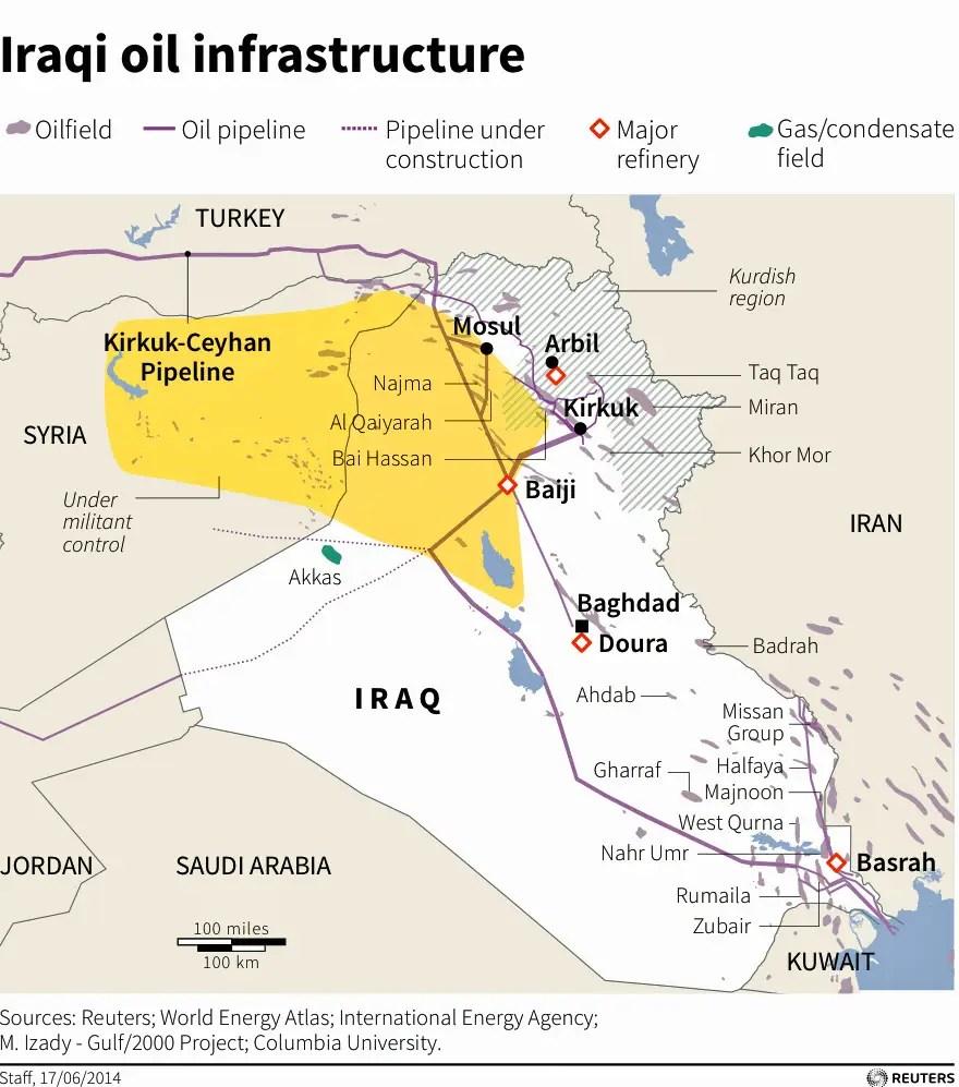 iraq oil map