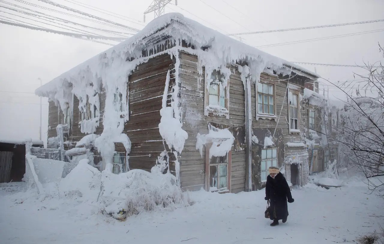 The city has a population of around 300,000, and during winter, temperatures average around −30 °F.