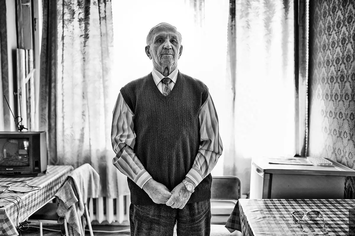 """Nilolay, age 82. Profession: Excavator operator. Passion or Dream: """"I would like to meet a good woman and to get a family."""""""