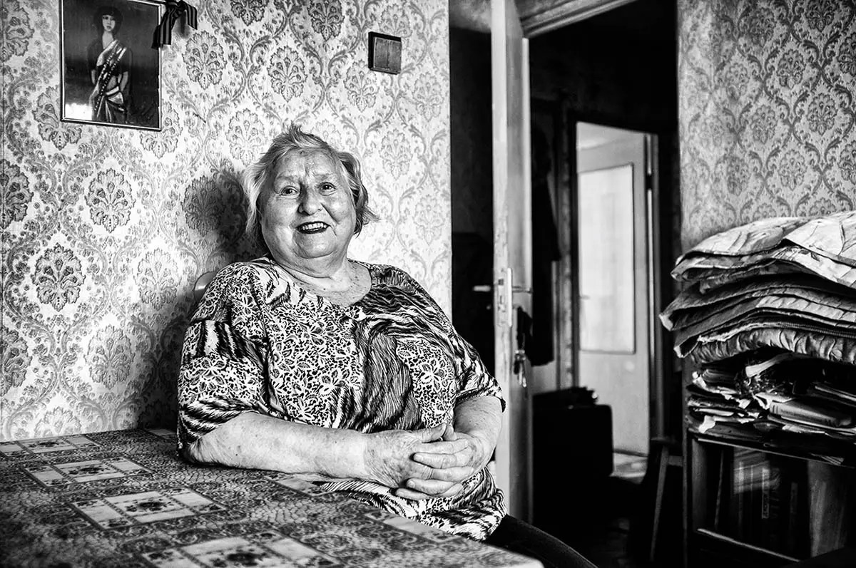 "Margarita, age 86. Profession: Production engineer. Passion or Dream: ""I dream of making a masterpiece from patchwork, to live long, and to continue learning German language."""