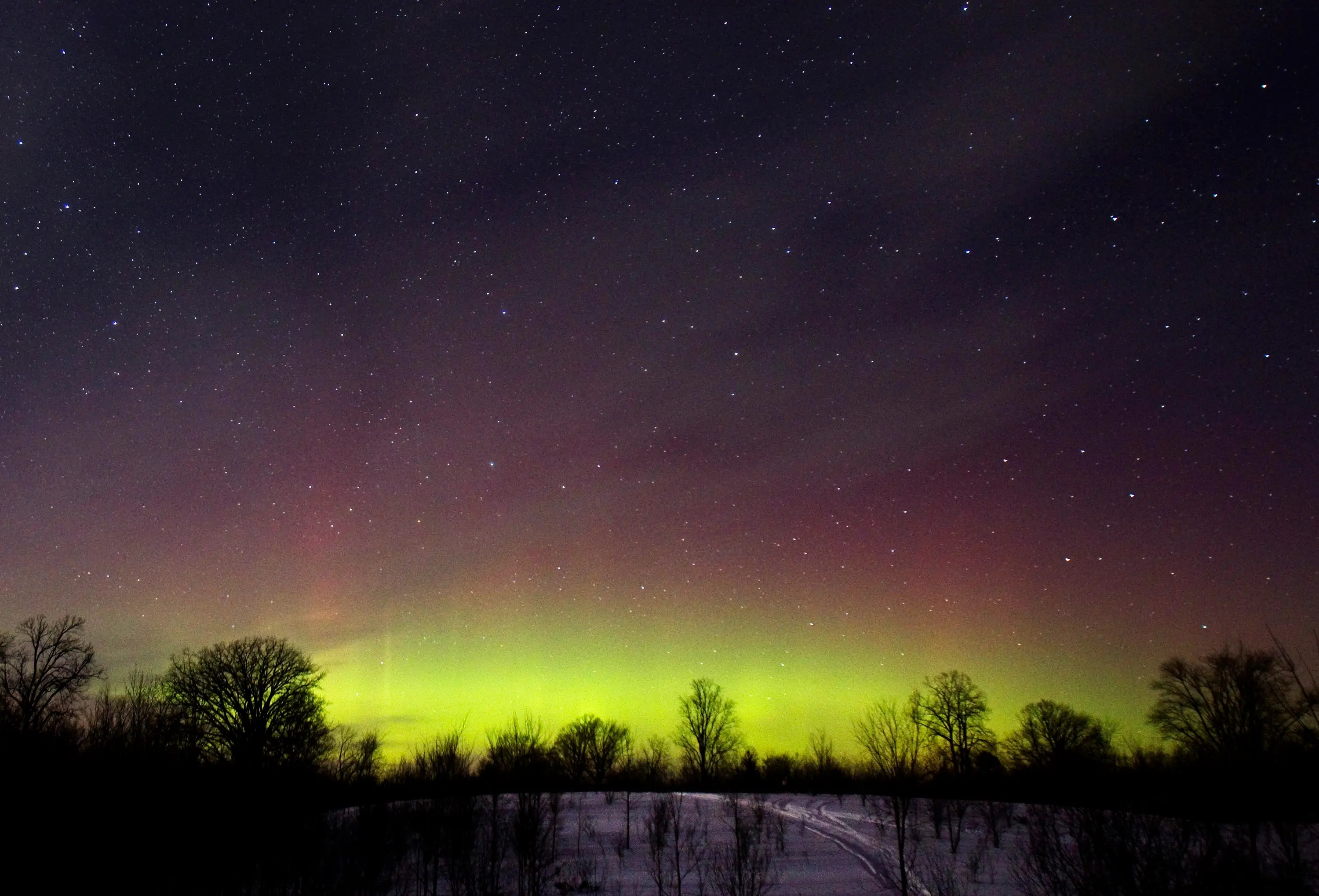 The glow of the northern lights is seen in southern Ontario.