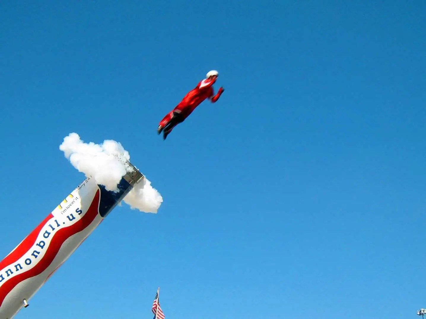 american human cannonball explode boom surge