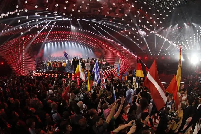 Participants take the stage during the dress rehearsal for the Eurovision Song Contest final, in Vienna, on May 22, 2015