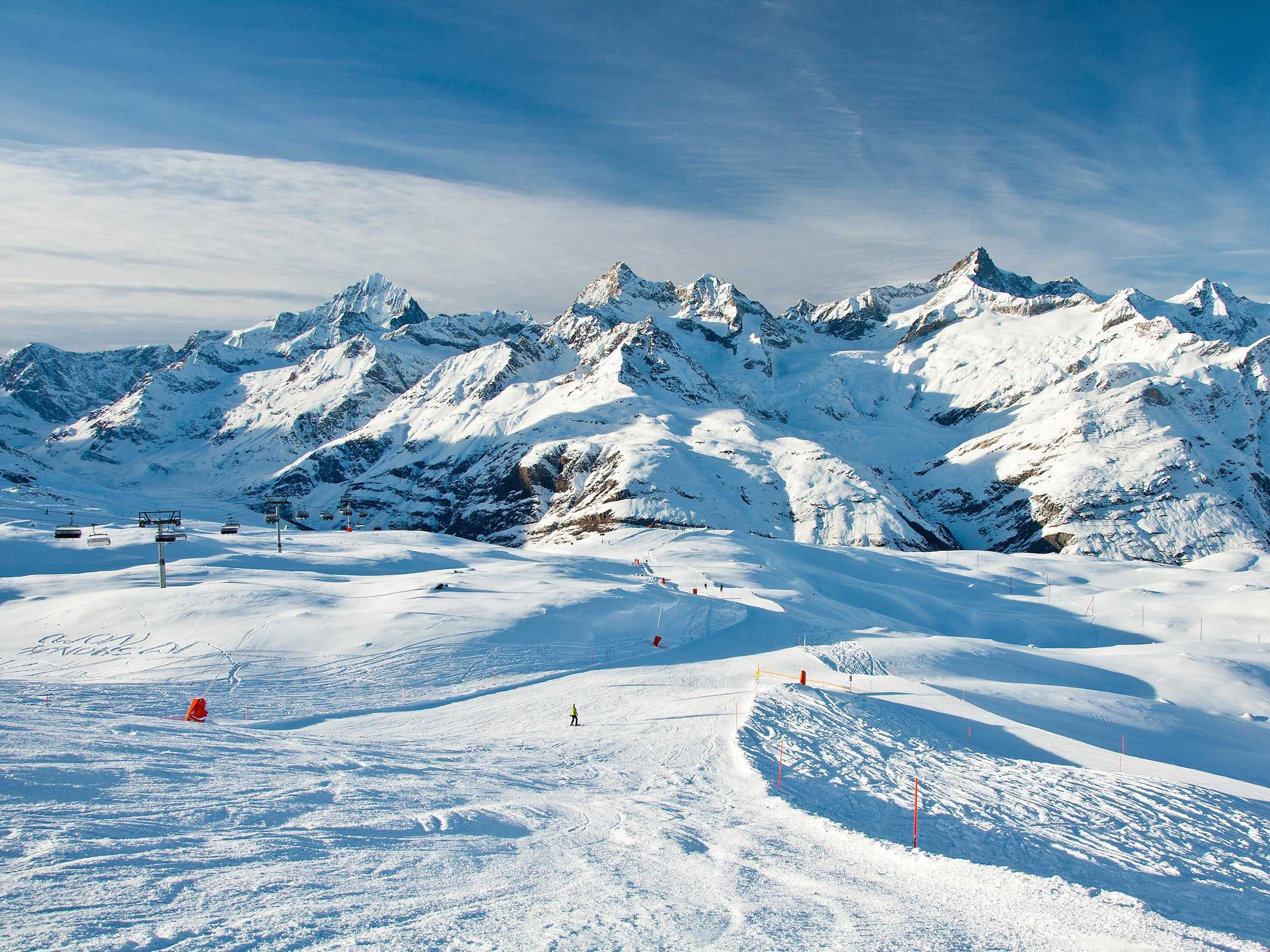 Ski the majestic mountains of the Swiss Alps.
