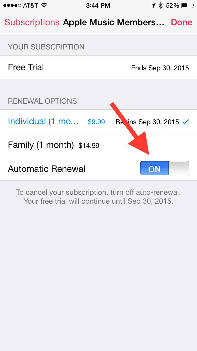 Turn off subscription auto-renewal