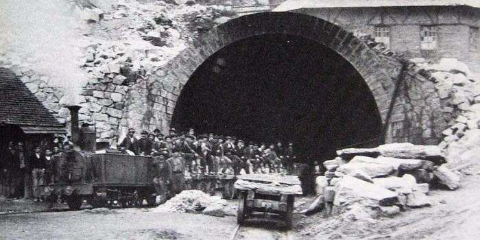The first tunnel on the Gotthard axis, connecting Zurich and Milan by train, was completed in 1882 as a joint venture by Switzerland, Germany, and Italy, all of which benefit from trade along the vital north-south route.
