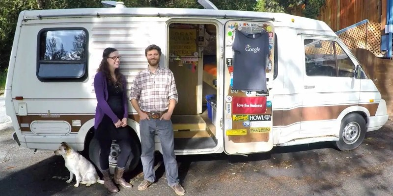 Another Google employee, Pete D'Andrea, and his wife Kara, spent nearly two years living in this van parked in the company's parking lot. It allowed them to save 80% of their take-home pay, and now they own a house in the Santa Cruz Mountains.