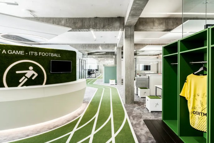 Broadcasting service Onefootball takes its sport seriously. A winding track snakes through the office, culminating in a goal where employees can take penalty kicks during breaks.
