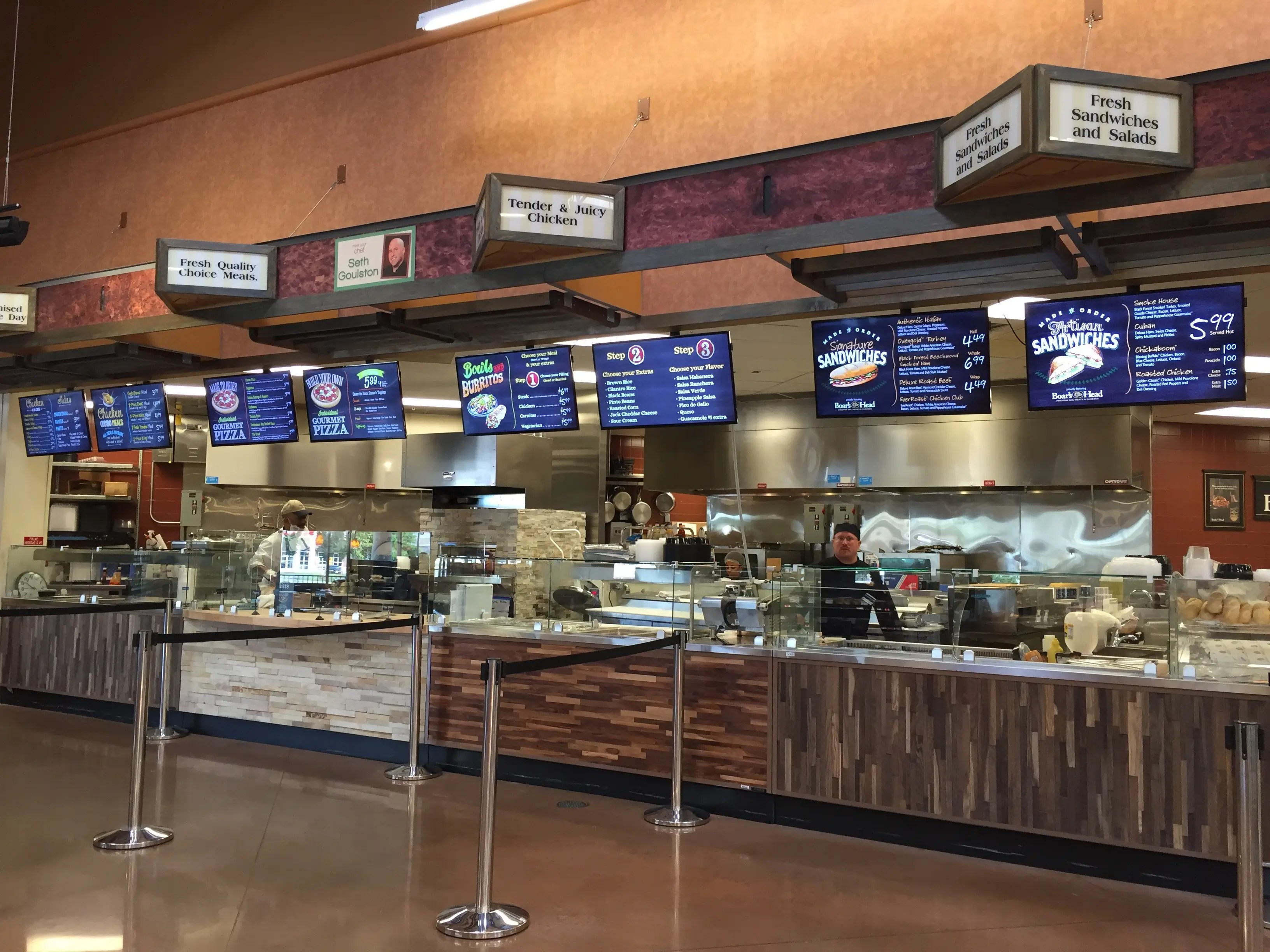 """The """"fresh meals"""" kitchen features all kinds of customizable dishes, including pizza, sandwiches, and burrito bowls made to order."""
