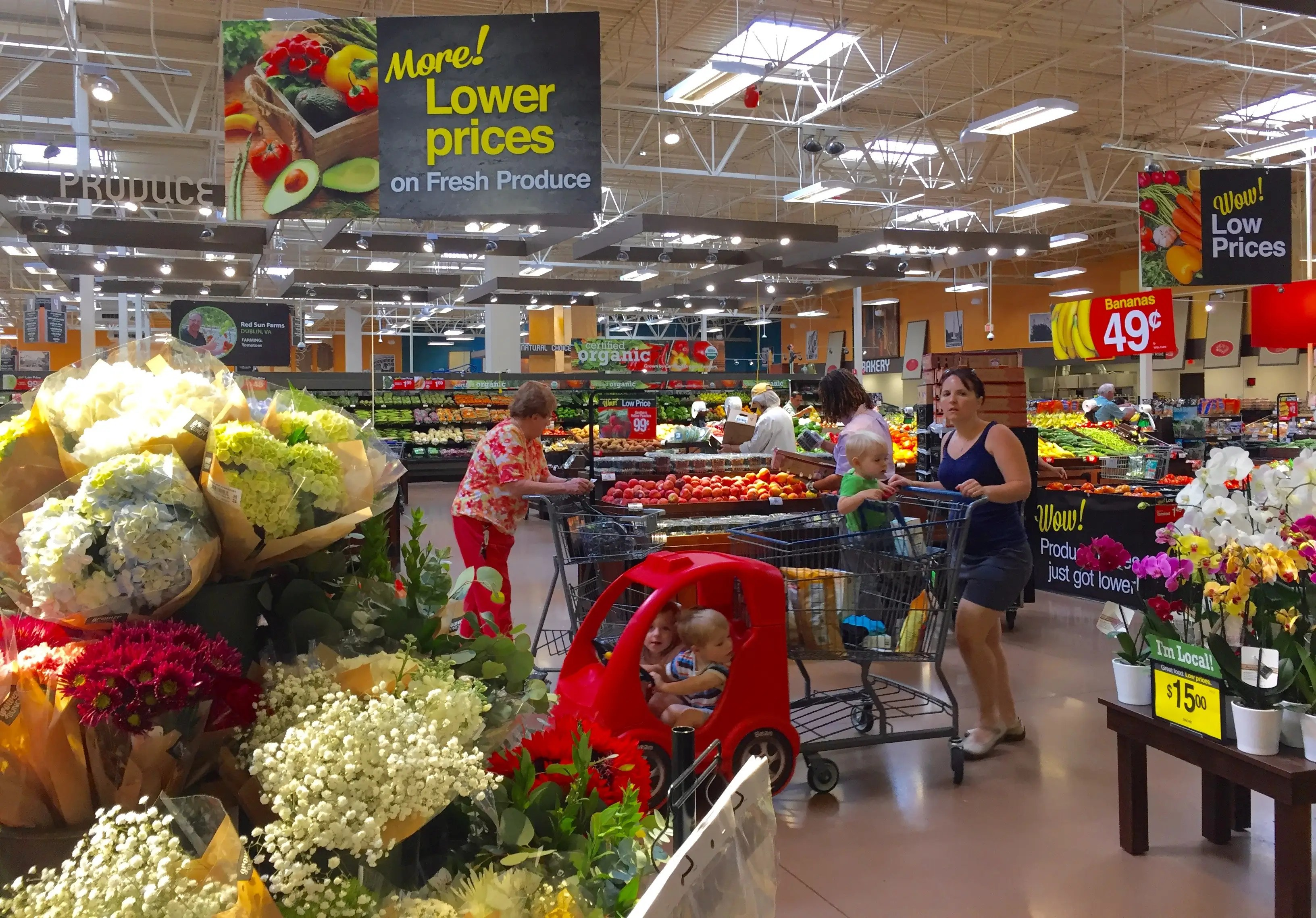 Stepping inside, shoppers are greeted by the fresh-produce department.