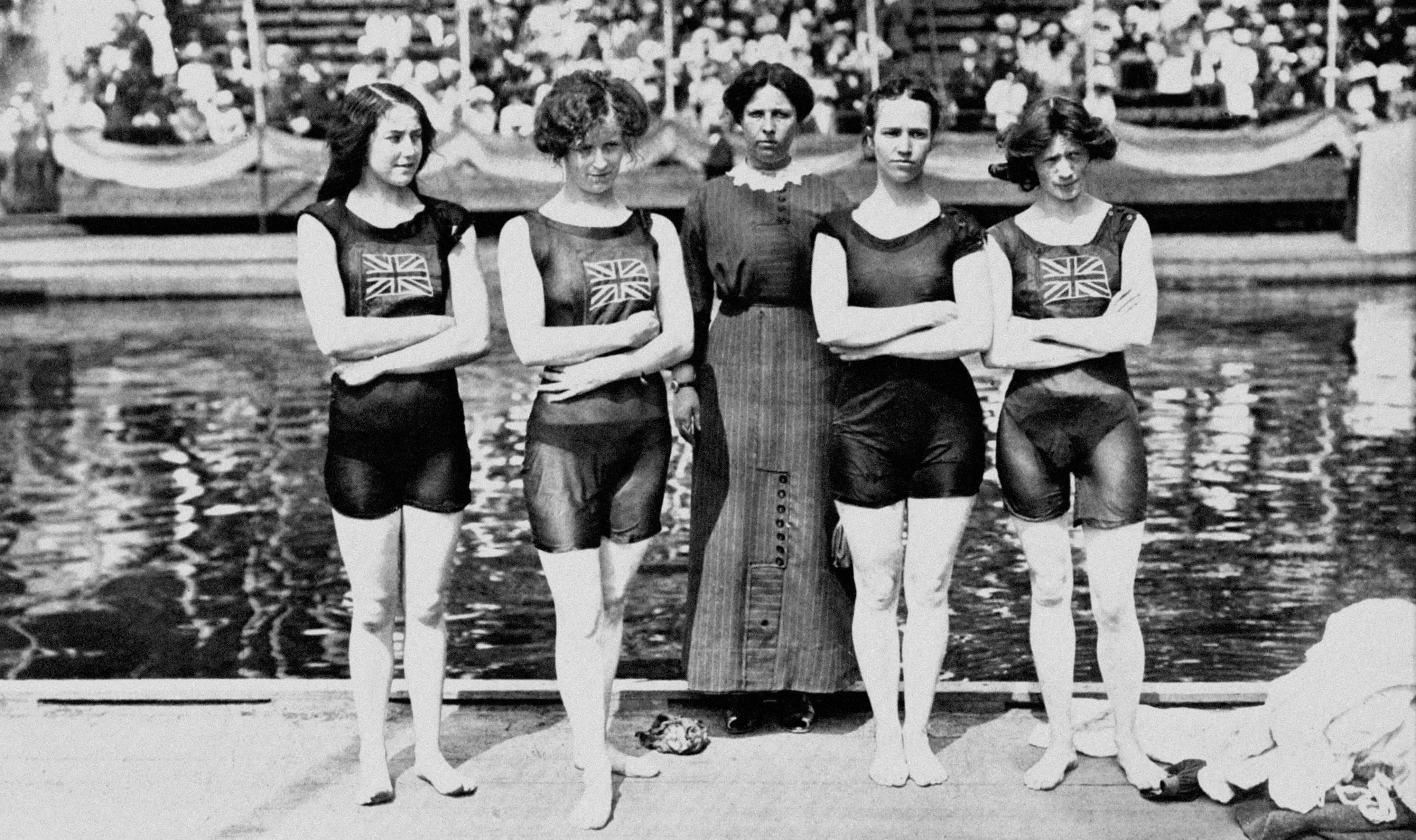 Stockholm, 1912: The Swedish Olympic games in 1912 were the first to feature women's diving, women's swimming, and both the decathlon and the new pentathlon. Pictured is Great Britain's first female swimming team, who went on to win gold.