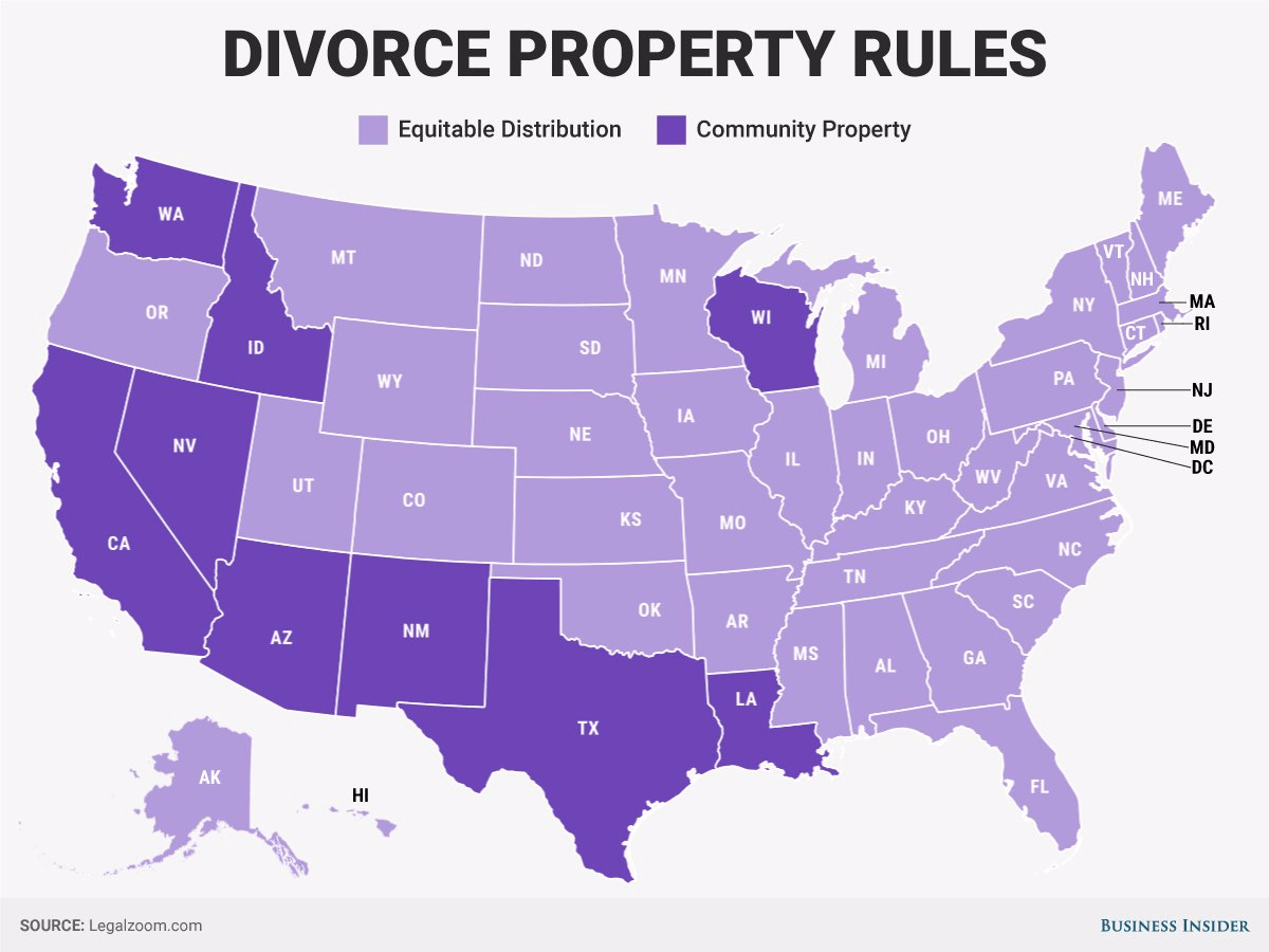 Best States To Get Divorced In If You Are Much Richer Than