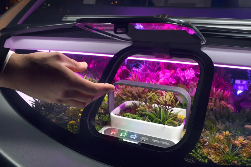 The garden is tucked right behind the windshield.