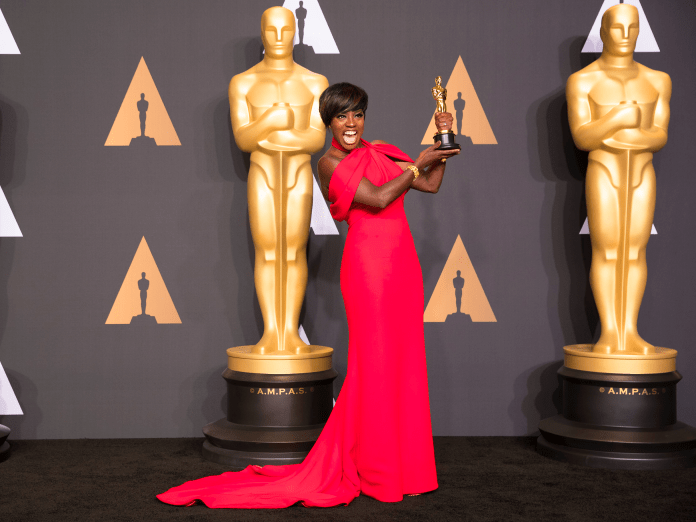 "Viola Davis looks ecstatic over her best supporting Oscar win for ""Fences."""
