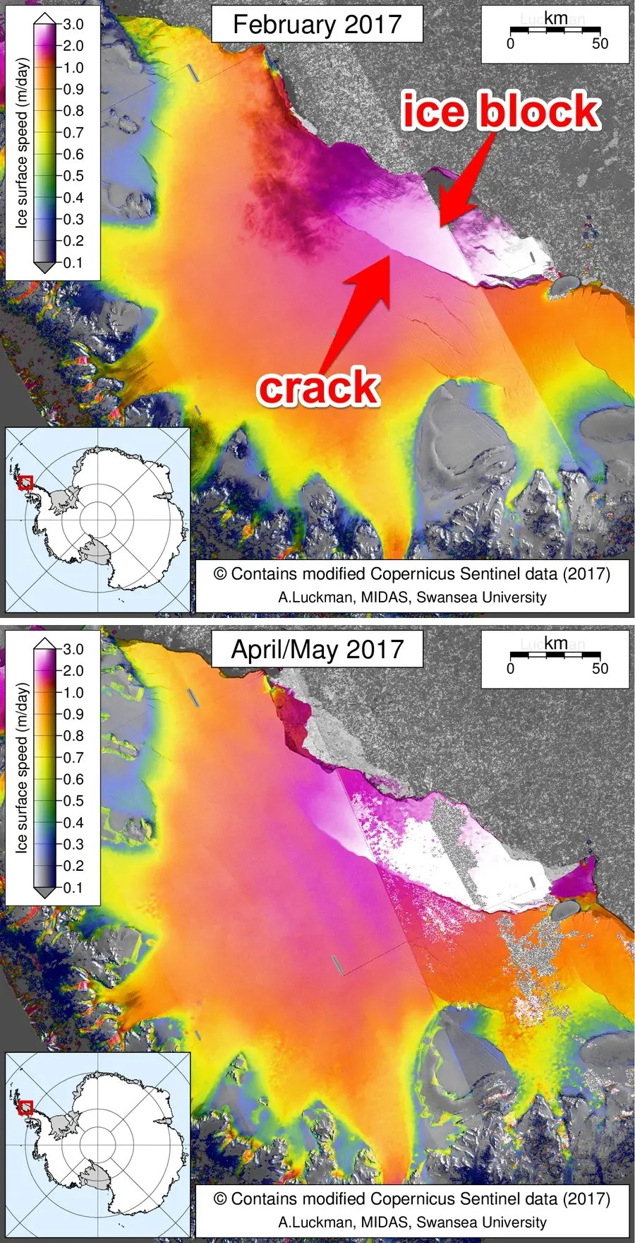 antarctica larsen c ice shelf crack midas sar rift map february april may 2017 luckman midas swansea labeled