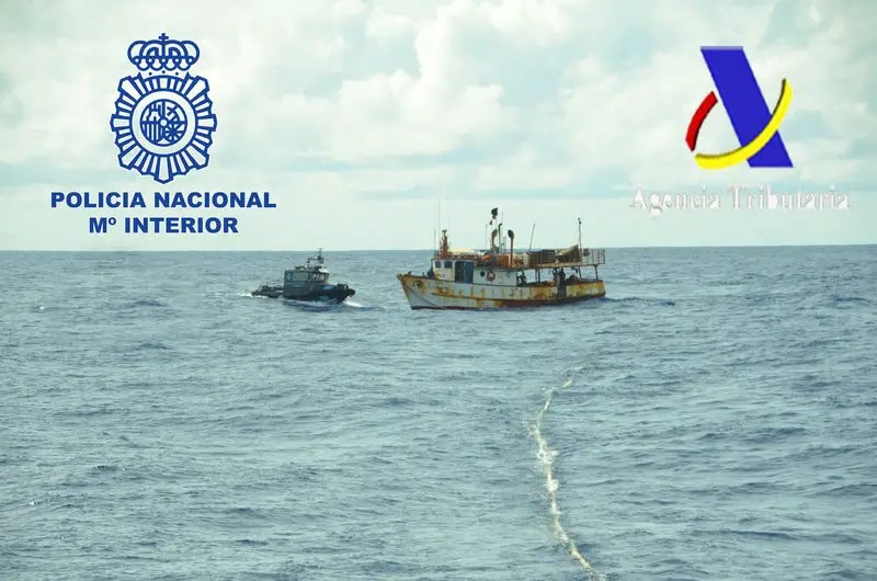 Spanish police are seen intercepting a ship in the Atlantic Ocean in this undated handout picture released May 15, 2017. Spanish Police - Spanish Interior Ministry/Handout via REUTERS