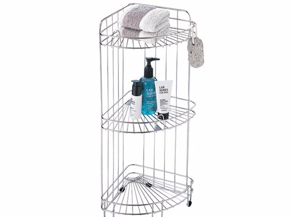 A three-tier corner shower caddy.