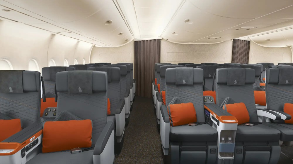On the main deck of the A380 are 44 premium economy seats.