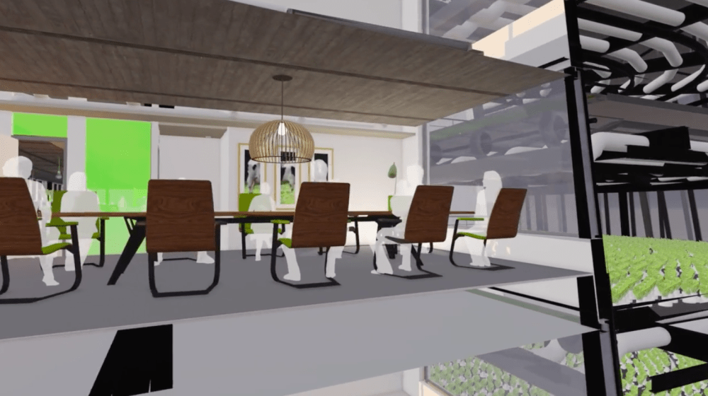 About two-thirds of the building will be devoted to offices, while the other third will include a huge indoor farm.