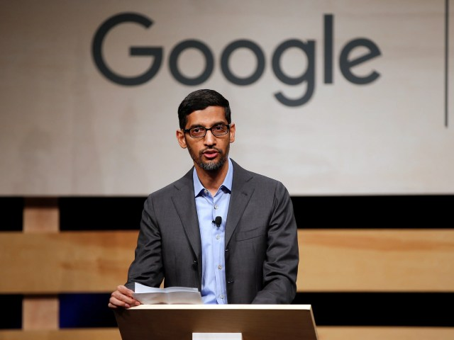 FILE PHOTO: Google CEO Sundar Pichai speaks during signing ceremony committing Google to help expand information technology education at El Centro College in Dallas, Texas, U.S. October 3, 2019.  REUTERS/Brandon Wade
