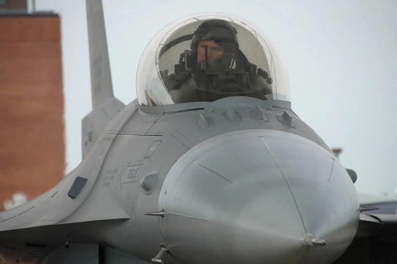 Air Force F-16 fighter jet canopy pilot cockpit