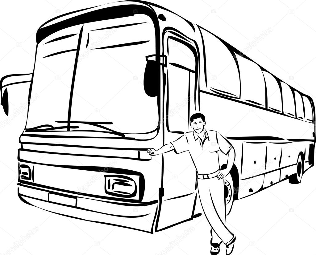 Sketch Of A Man Near His Bus Driver