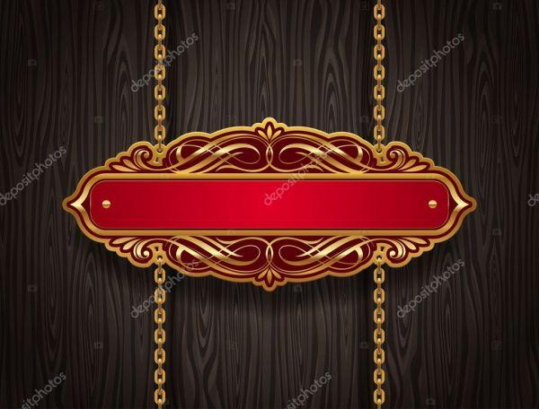Вектор декоративная золотая старинная вывеска, висящая на ...