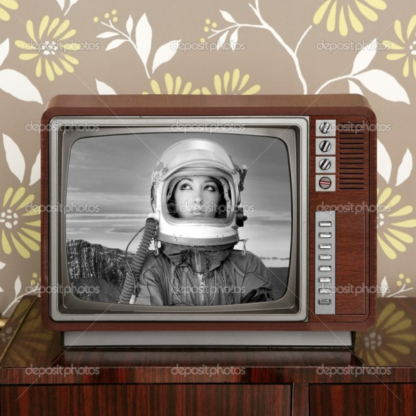 Space odyssey mars astronaut on retro 60s tv Stock Photo