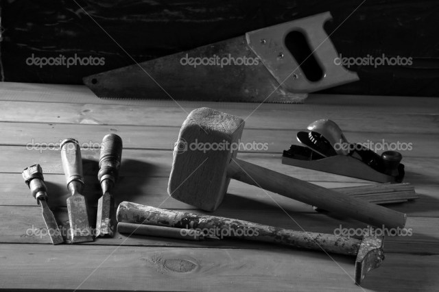 Carpenter craftman hand tools saw hammer wood tape plane gouge