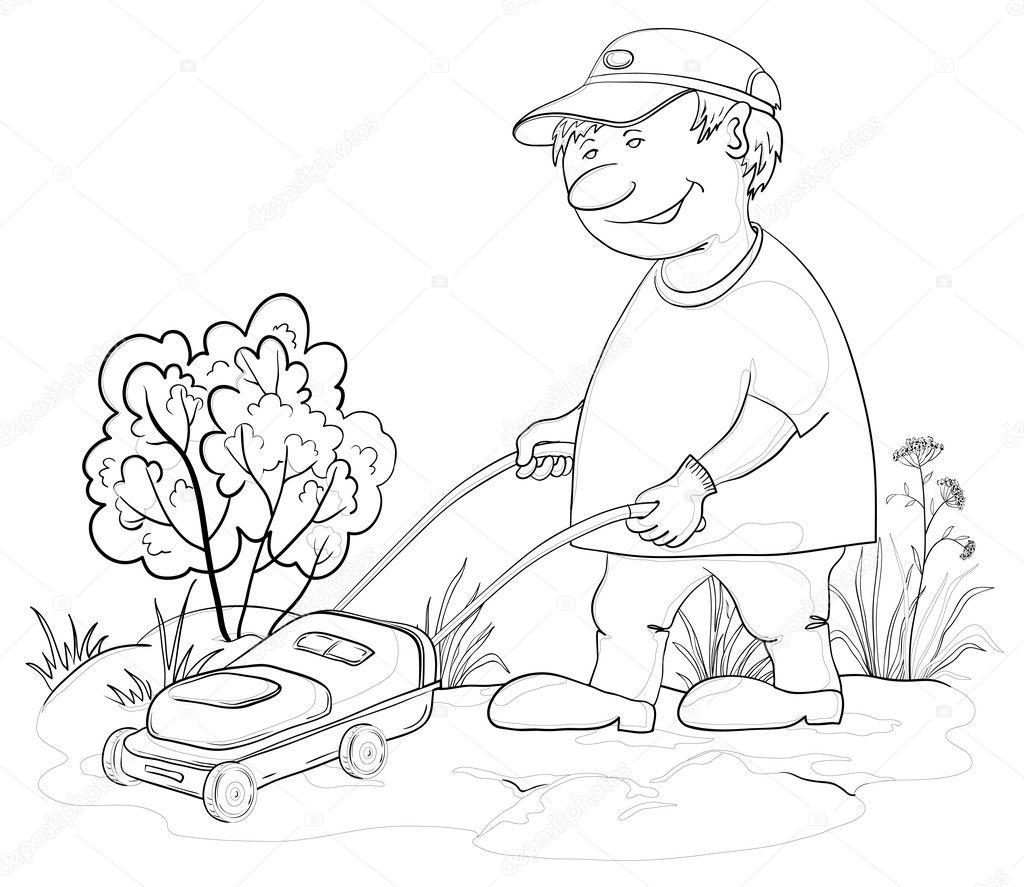 Lawn Mower Man Outline