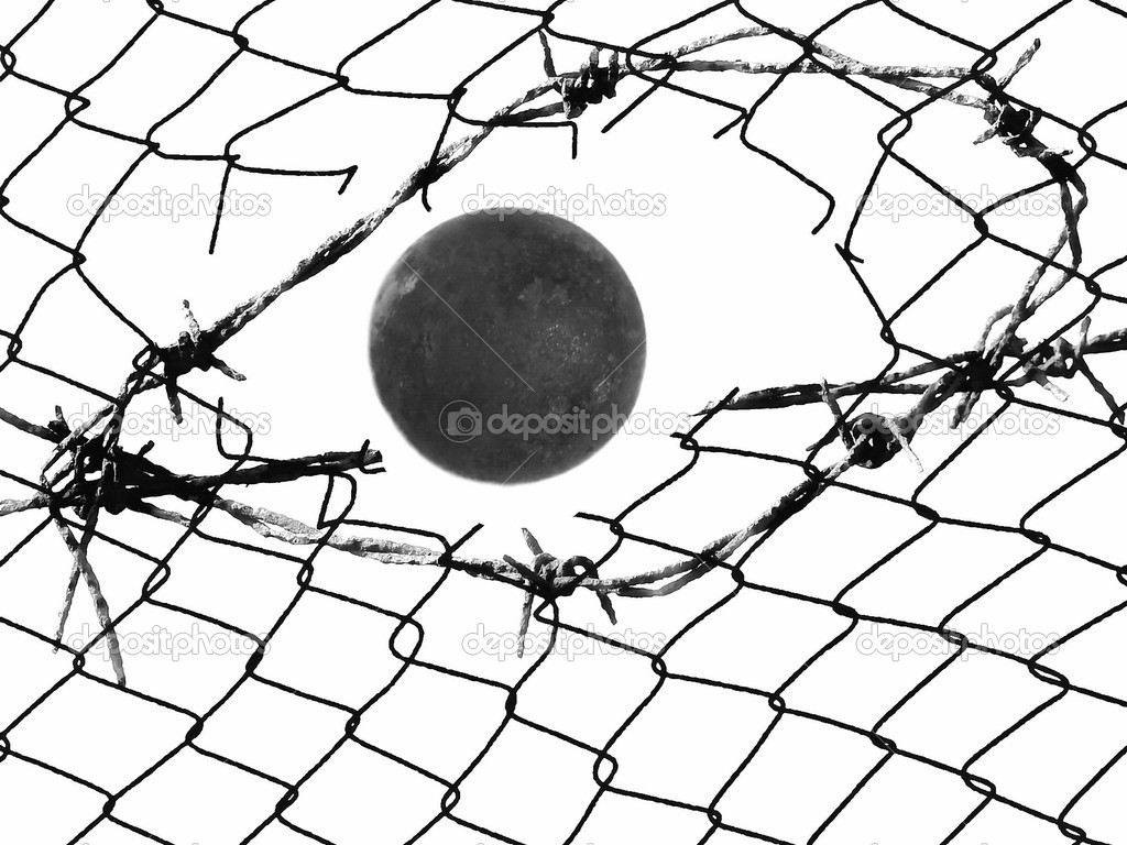 Old Barbed Wire Fence And Metal Ball Isolated On White