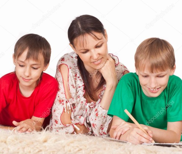 Mom With Sons Stock Photo