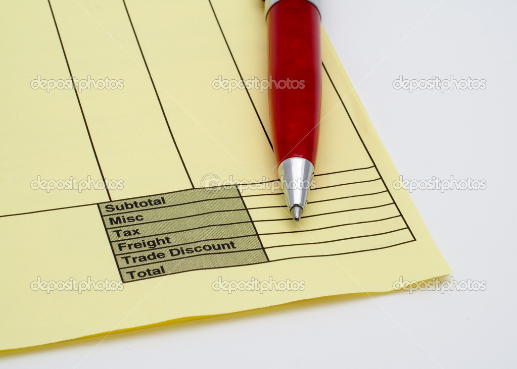 Blank invoice with pen     Stock Photo      broker  5882951 Blank invoice with pen on white background     Photo by broker