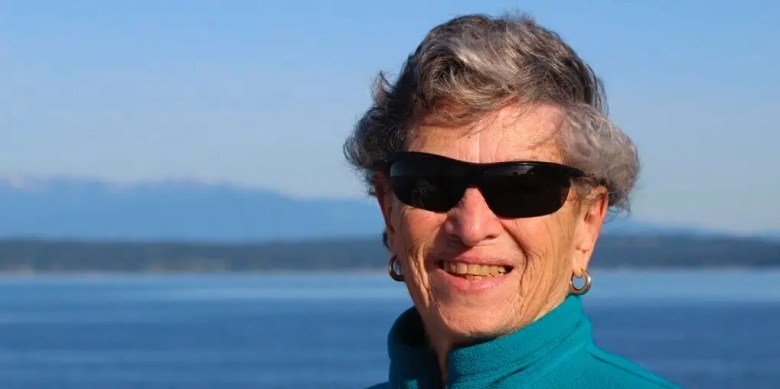 This undated photo provided by Ruth Goldman shows Fran Goldman. A rare winter storm that dumped a foot of snow on Seattle couldn't keep Fran Goldman from her first appointment for the coronavirus vaccine on Sunday, Feb. 14, 2021. The 90-year old walked six miles round trip to get her shot.