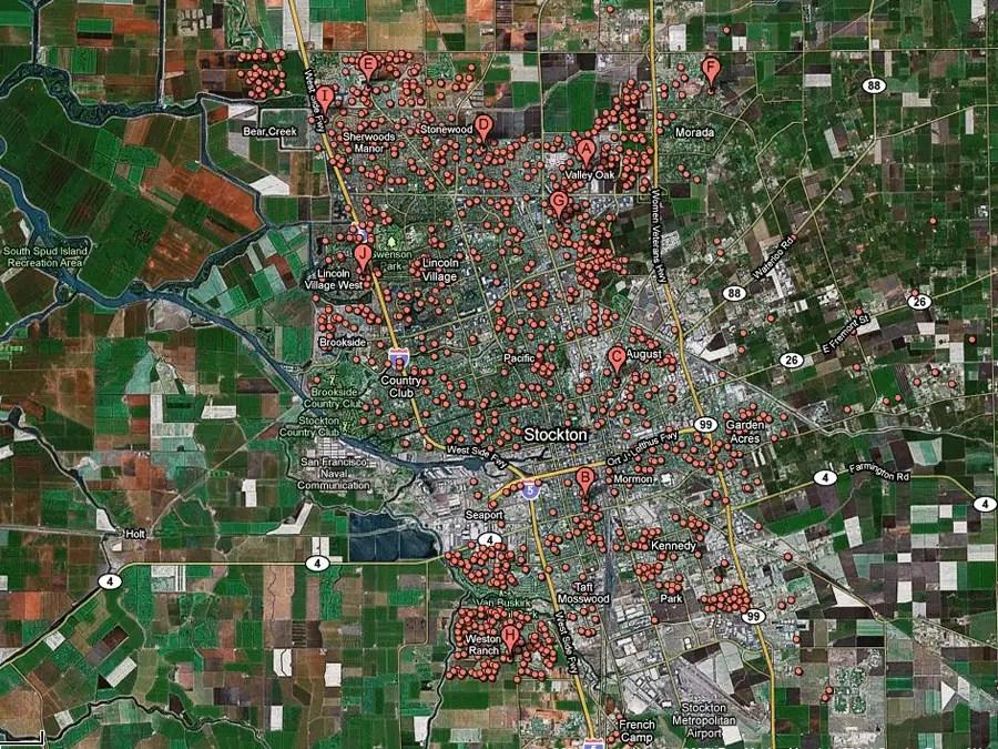 Stockton, Calif. -- 1 in 14 homes in foreclosure
