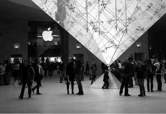 Apple's store in the mall at Louvre makes for pretty photos
