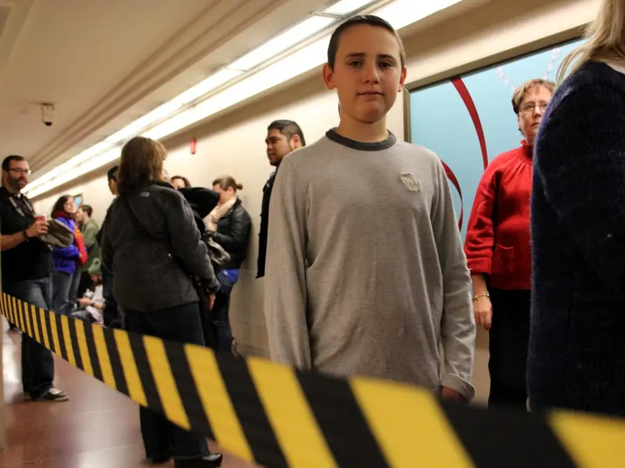 The line went all the way down Grand Central's north passageway, and had people of all ages