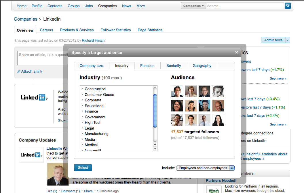 Linkedin follower statistics