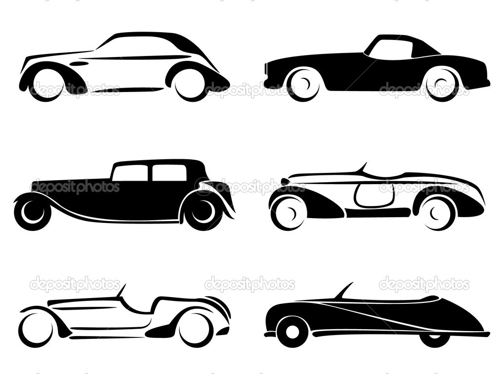 Old Cars Silhouettes Set Vector
