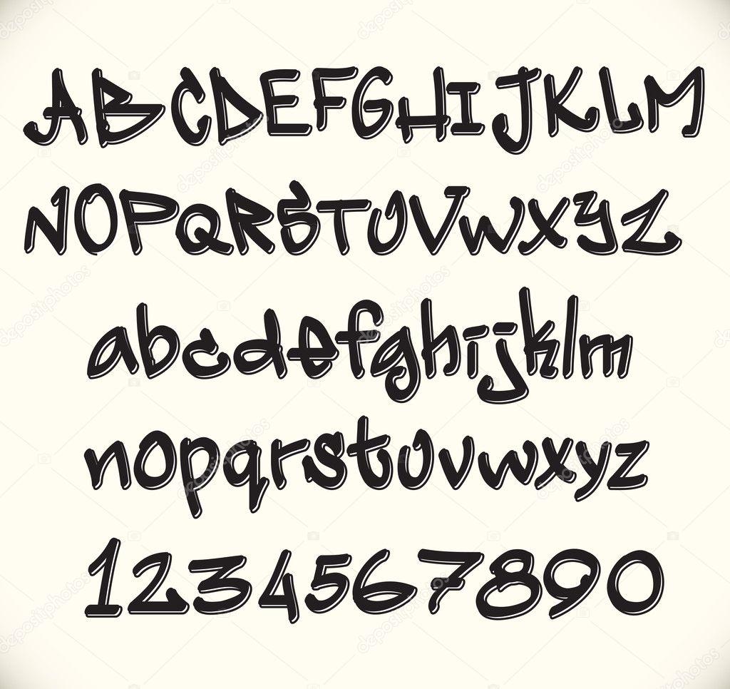 Alfabeto De Fonte Graffiti Letras Abc