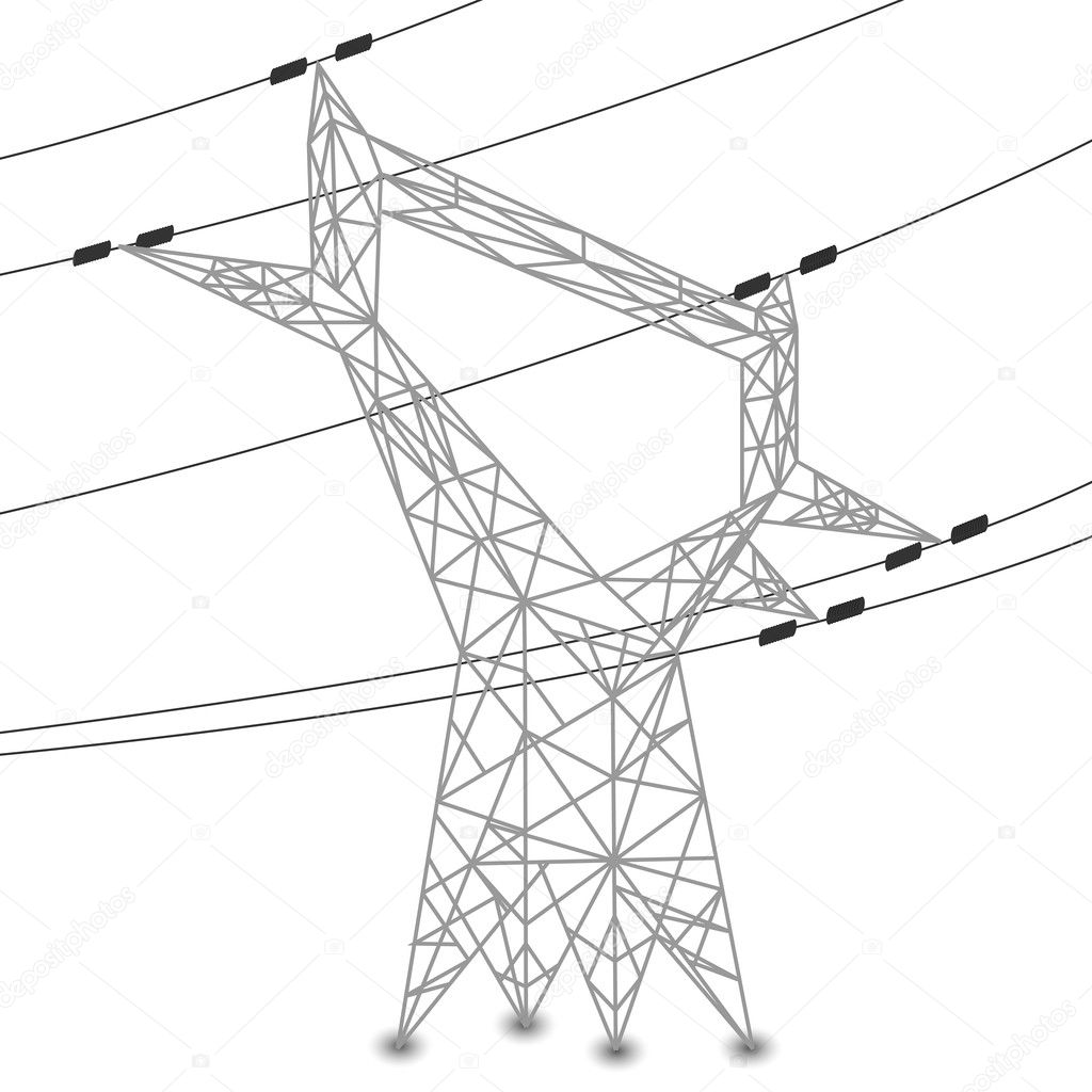 Silhouette Of Power Lines And Electric Pylon