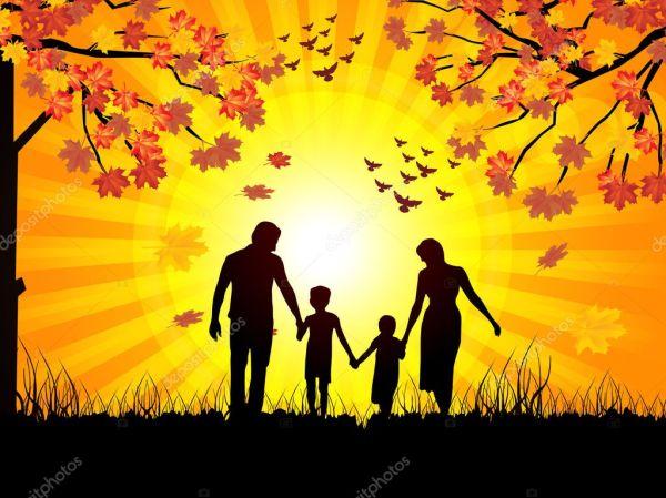 Фото семья осень. Осень и семья — Векторное изображение ...
