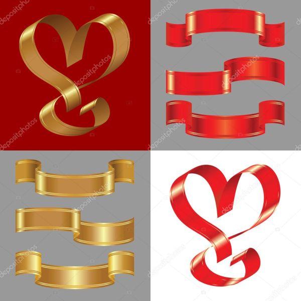 Векторный набор блестящие золотые и красные ленты ...