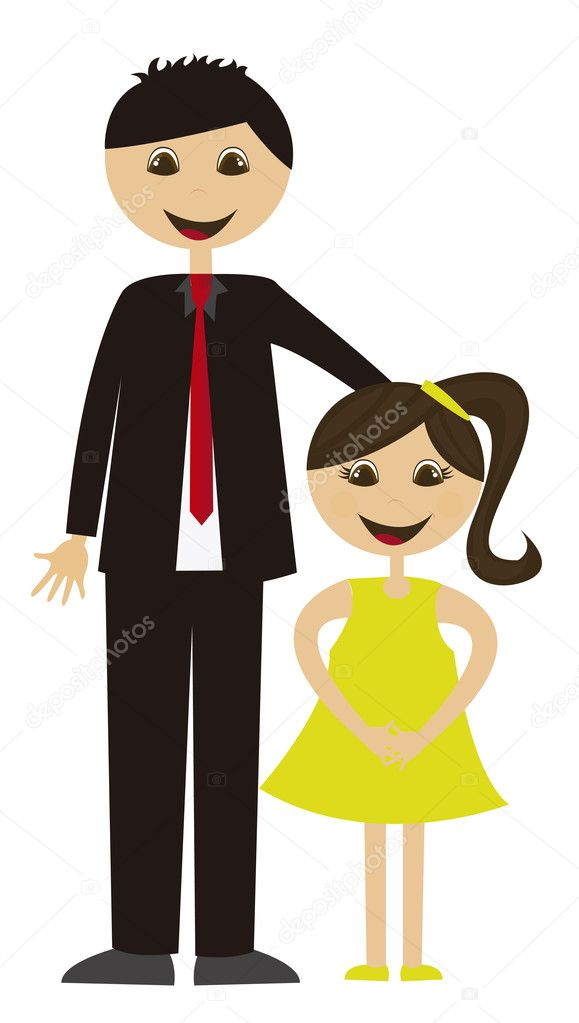 Download Father and daughter — Stock Vector © grgroupstock #7051129