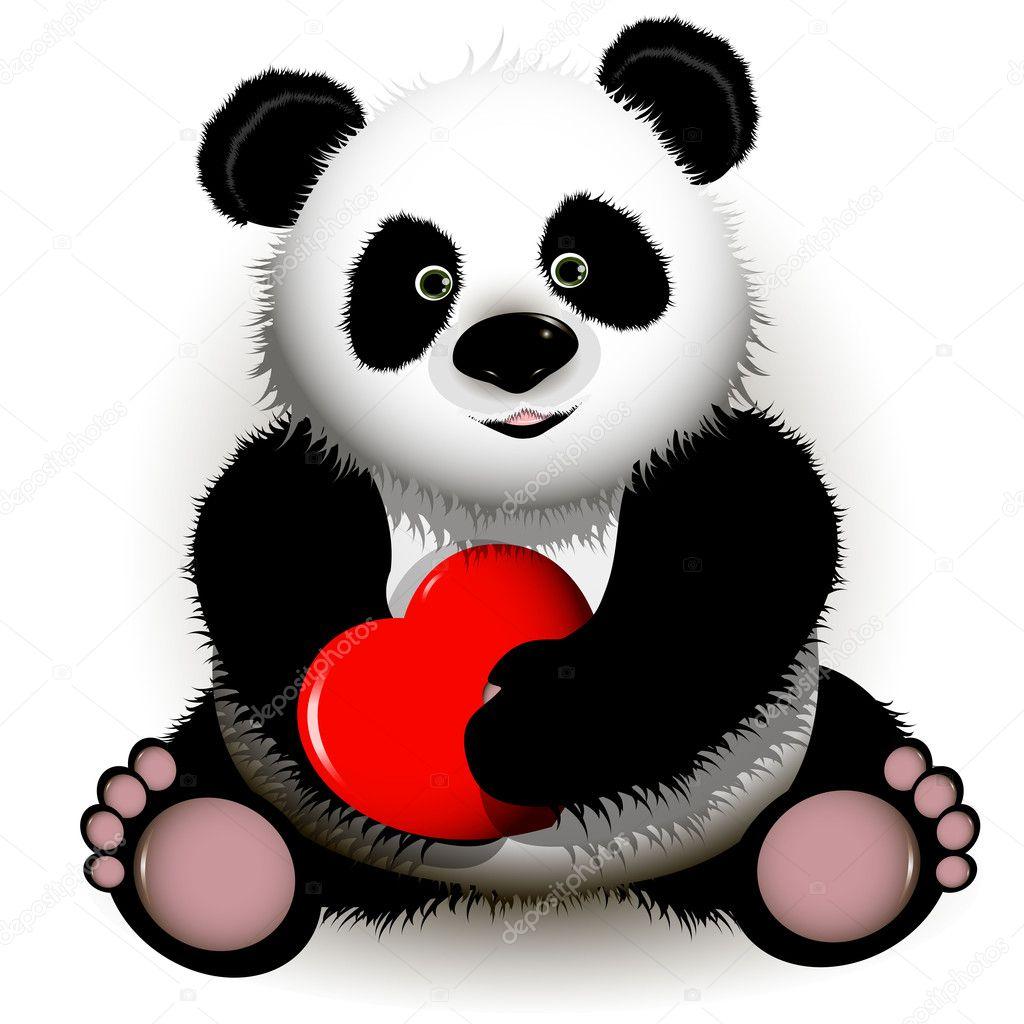 Panda Con Cuore Rosso