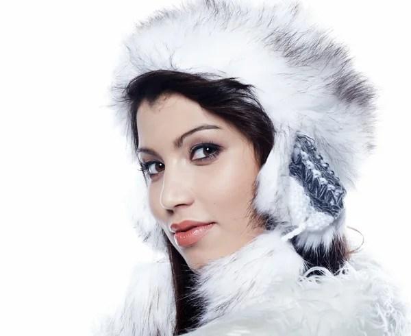 Роскошная женщина. Зимняя женщина в роскошной шубе ...